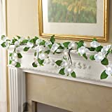 Lighted White Hanging Camellia Garland
