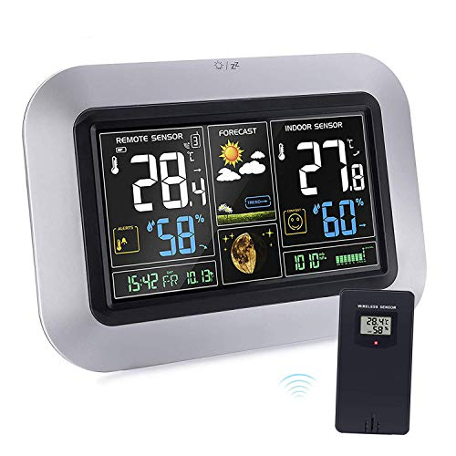 kalawen Weather Stations Wireless Indoor Outdoor,Alarm Clock with Color LCD Screen, Remote Sensor, Humidity Temperature Monitor, ()