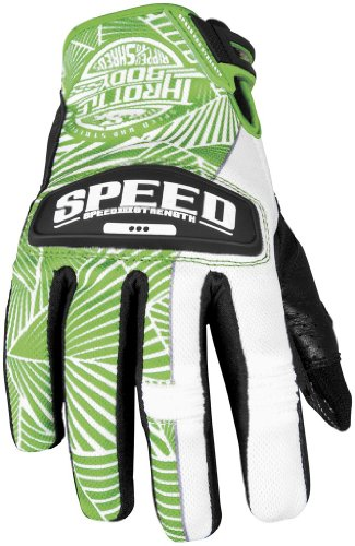 Speed and Strength Womens Throttle Body Leather Mesh Gloves 2013 Green White M/Medium (Womens Throttle Strength Body)