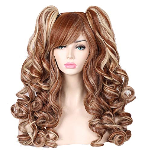 ColorGround Long Curly Multi-Color Cosplay Wig with 2 Ponytails(Brown with Blonde)