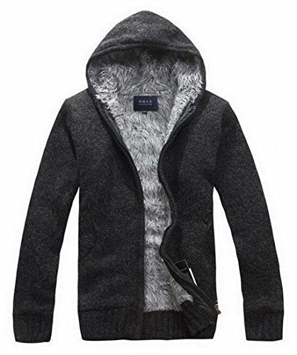 Padded Lined Fleece Men's Generic Sweatshirt Thick Coat Black Hooded Warm Jacket qfn1xSg
