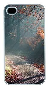 Forest Sunny Way PC case Cover for iPhone 4 and iPhone 4s ¡§C White