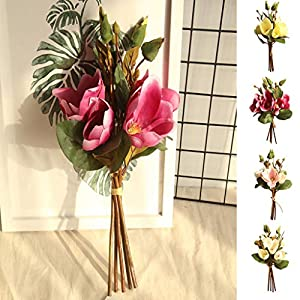 MaxFox Artificial Flowers,Fake Leaf Magnolia Floral Wedding Bouquet Arrangement in Vase for Party Home Decor 55