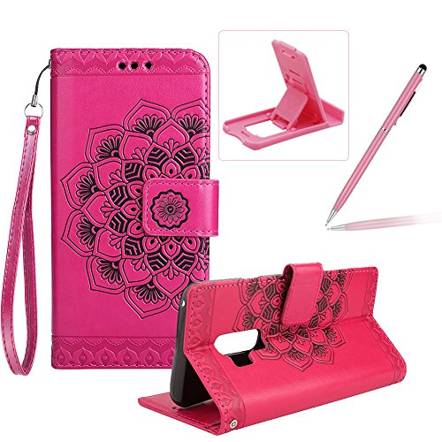 r Galaxy S9 Plus,Strap Wallet Case for Galaxy S9 Plus,Herzzer Bookstyle Classic Elegant Hot Pink Mandala Flower Pattern Stand Magnetic Smart Leather Case with Soft Inner ()