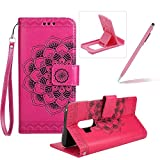 Rope Leather Case for Samsung Galaxy S9 Plus,Strap Wallet Case for Samsung Galaxy S9 Plus,Herzzer Bookstyle Classic Elegant Mandala Flower Pattern Stand Magnetic Smart Leather Case with Soft Inner for Samsung Galaxy S9 Plus + 1 x Free Pink Cellphone Kickstand + 1 x Free Pink Stylus Pen - Hot Pink