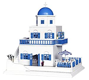BEAUTY'S CASTLE DIY Romantic Santorini Wooden Dollhouse LED Lights Miniature Assembly Furniture Kit 3D Puzzle Crafts Toy And Wooden Frame For Creative Kid Birthday Gifts