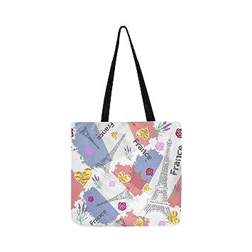 49cdeb9d3c323 Flagge Frankreich Canvas Tote Handtasche Schultertasche Crossbody Taschen  Geldbörsen für Männer und Frauen Einkaufstasche