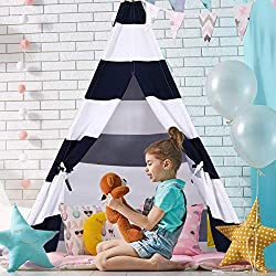 Costzon Kids Play Tent Indian Tent Cotton Canvas Baby Children Playhut with Carry Bag, Home and Playground, Kid Teepee Tent for Toddlers(Blue & White)
