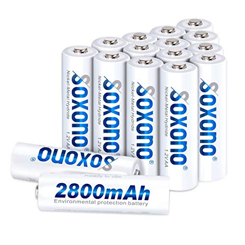 AA Batteries Rechargeable,Sonoxo AA Batteries High Capacity 2800mAh 1.2V Ni-MH AA Battery Low Self Discharge 16 Pack Aa Nickel Metal Hydride Batteries