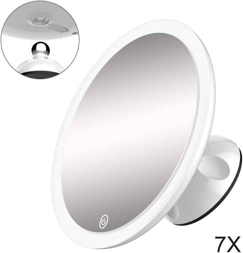 TOUCHBeauty 7X Lighted Magnifying Mirror 6.7 inch Waterproof Locking Suction Cup Shower Mirror 360° Swivel High Definition Magnified Mirror with Light Rechargeable Touch Control Brightness Adjustable: Kitchen & Dining