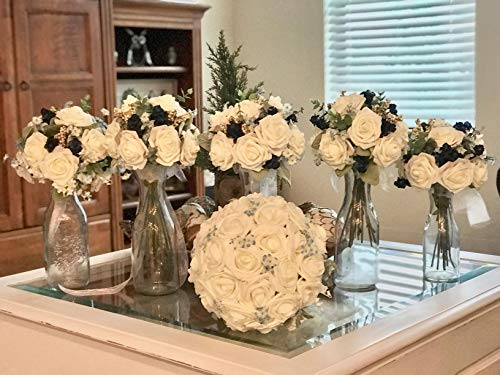 DerBlue 60pcs Artificial Roses Flowers Real Looking Fake Roses Artificial Foam Roses Decoration DIY for Wedding Bouquets Centerpieces,Arrangements Party Baby Shower Home Decorations (Shimmer Peach)