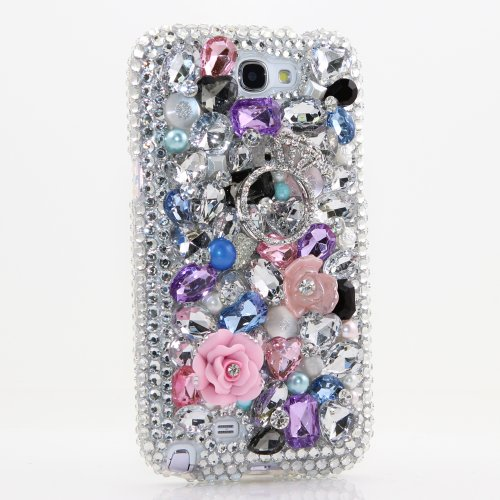 Samsung Note 2 Luxury 3D Bling Case - Gorgeous Ring Pink Rose Jewelry Love Design - Swarovski Crystal Diamond Sparkle Girly Protective Cover Faceplate (100% Handcrafted By Star33mall)
