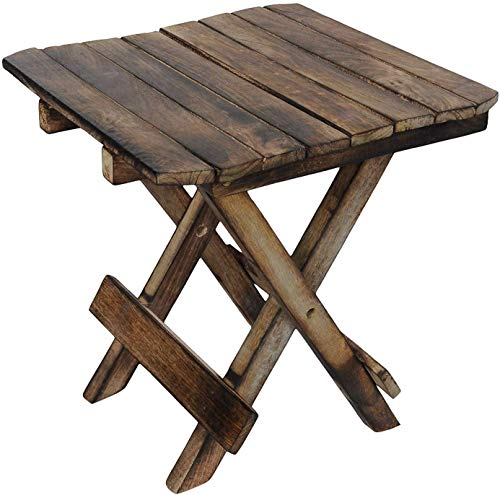 Ereteken ART Wooden Foldable Adjustable Side Table/End Table/Coffee Table/Plant Stand/Outdoor Table/Stool 12Inch. (Brown)