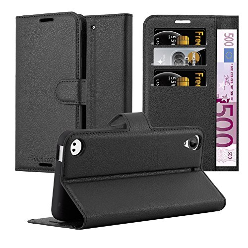 Cadorabo Case Works with HTC Desire 530/630 Book Case in Oxid Black – with Magnetic Closure, Stand Function and Card Slot – Wallet Case Etui Cover - Desire Wallet Htc Phone