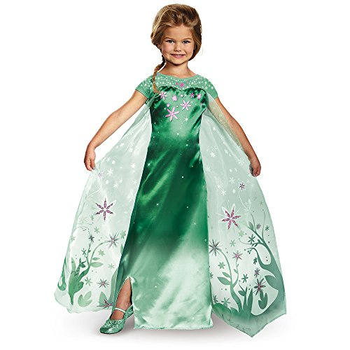Elsa Frozen Fever Deluxe Costume, One Color, (Disney Frozen Deluxe Elsa Costume)