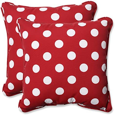 Pillow Perfect Decorative Polka Dot Toss Pillow, Square, Red White