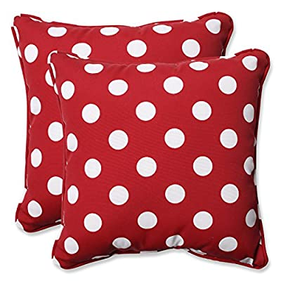 Pillow Perfect Decorative Polka Dot Toss Pillow, Square, Red/White - Includes two (2) outdoor pillows, resists weather and fading in sunlight; Suitable for indoor and outdoor use Plush Fill - 100-percent polyester fiber filling Edges of outdoor pillows are trimmed with matching fabric and cord to sit perfectly on your outdoor patio furniture - living-room-soft-furnishings, living-room, decorative-pillows - 51sPZkoutGL. SS400  -