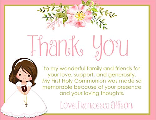 (Personalized Girls Communion Thank You Cards With Envelopes, Girls First Holy Commuion Decorations, Girls First Holy Communion Supplies)