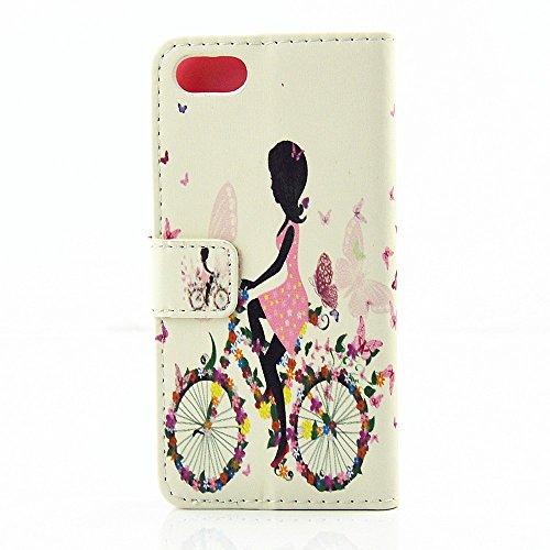 Apple iPhone 7Sac étui Cover Case de protection vélo strass multicolore decui Multicolore Housse en simili cuir