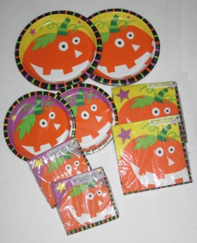 Starry Pumpkinハロウィンパーティーロットセット~ Plates Napkins B009AJCLS6