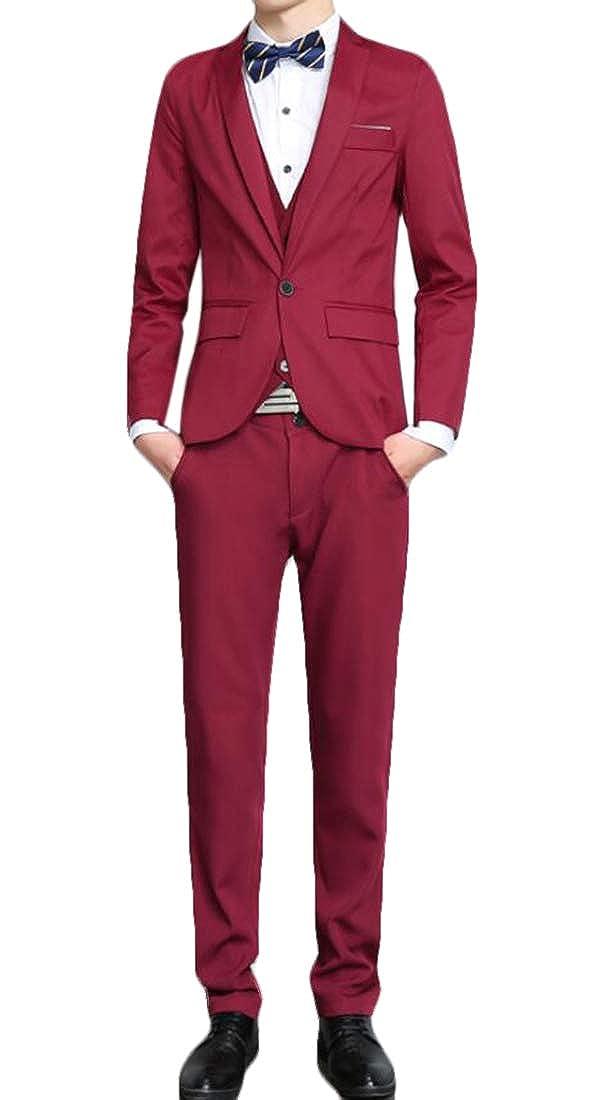 GRMO Men One Button 3-Piece Suit Blazer Dress Party Jacket Vest & Pants