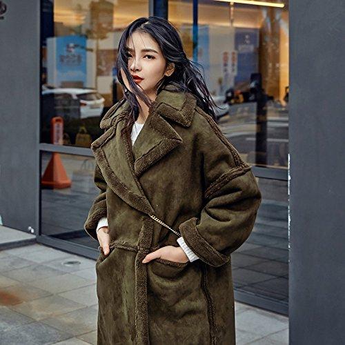 Xuanku Lint-Free Cotton Coat Women Long, Winter Clothing Lint-Free Cotton Clothes And Loose Cotton Jacket ArmyGreen