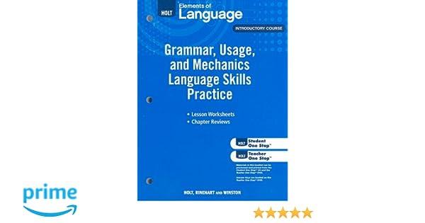 Workbook diagramming worksheets : Elements of Language: Grammar Usage and Mechanics Language Skills ...