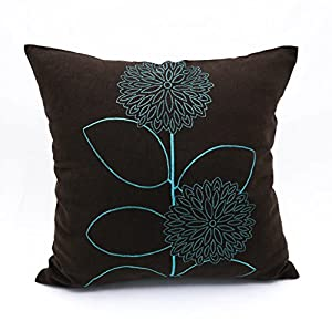 teal throw pillow cover decorative pillow cover linen pillow cover embroidered pillow dark brown teal flower modern pillow 16 inch x 16 inch - Teal Decorative Pillows