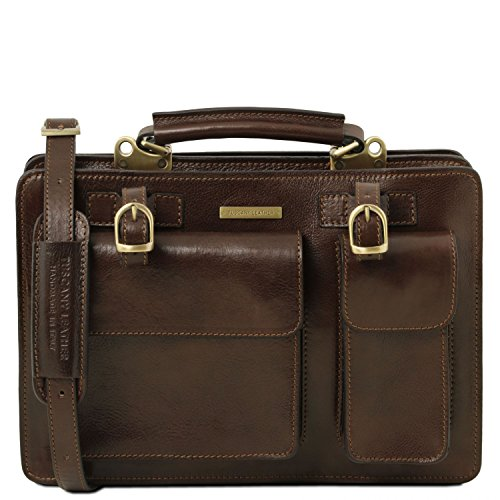 Leather Tl141269 Tuscany Modello Colore Grandi Tania 3 Marrone Scuro Di Miele Maniglie Borsa Dimensioni Con Dama Pelle In Fwwdq4S