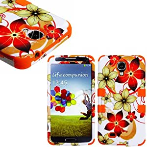 """myLife Orange - Floral Wave Design (3 Piece Hybrid) Hard and Soft Case for the Samsung Galaxy S4 """"Fits Models: I9500, I9505, SPH-L720, Galaxy S IV, SGH-I337, SCH-I545, SGH-M919, SCH-R970 and Galaxy S4 LTE-A Touch Phone"""" (Fitted Front and Back Solid Cover Case + Internal Silicone Gel Rubberized Tough Armor Skin)"""