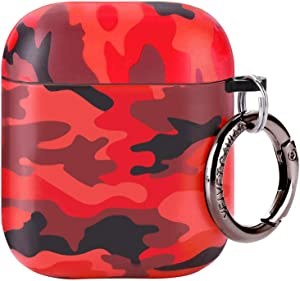 Velvet Caviar Red Camo AirPod Case - Cool Cover for Boys, Men, Girls with Keychain - Protective Hard Cases Compatible with Apple Airpods 1/2 (Camouflage)