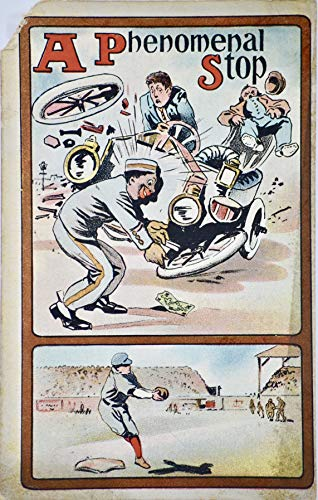"""1915 - Vintage Post Card - Black Americana/Baseball -""""A Phenomenal Stop"""" - Black Porter Picking up a Dollar/Baseball Play Under It - Jacksonville FLA - 1 Cent Stamp - Collectible"""