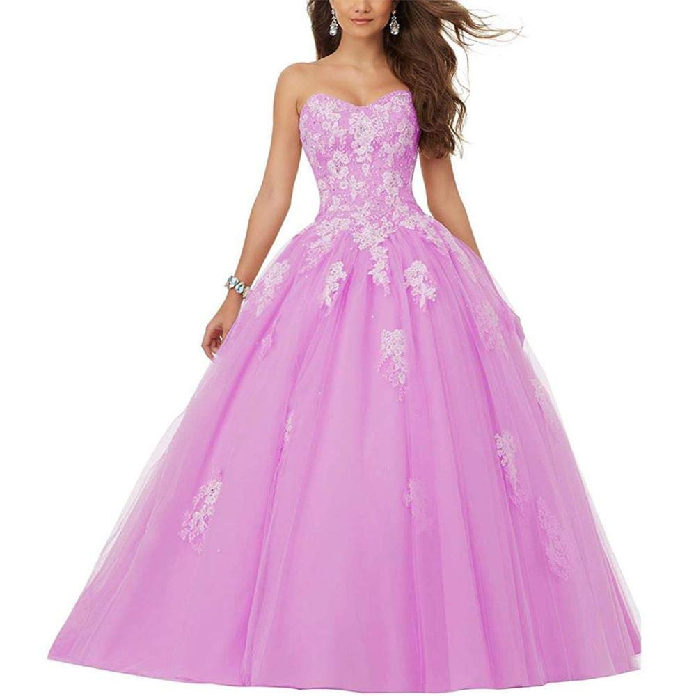 Dark Pink Women's Beaded Sweetheart Lace Appliqued Ball Gown Wedding Dresses for Bride Plus Size