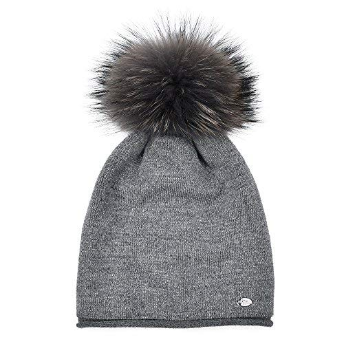 897199c50db414 Womens Beanie Hats for Winter Wool Warm Cap Real Fur Pom Pom Knit Beanie  Caps,Grey+grey Raccoon Pom Pom,Normal one size fit for all with stretch <  Skullies ...