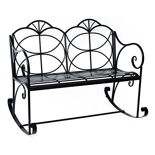 Outsunny Double Seater Metal Garden Chair Outdoor Rocking Bench Loveseat Patio Rocker Porch Shabby Chic Décor Iron Glider Chairs
