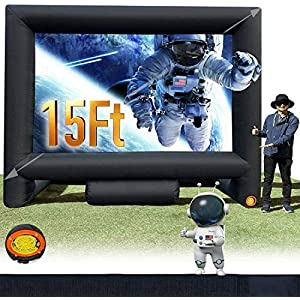15Ft Outdoor and Indoor Inflatable Movie Projector Screen, Supports Front and Rear Projection, Blow Up Mega Movie Screen…