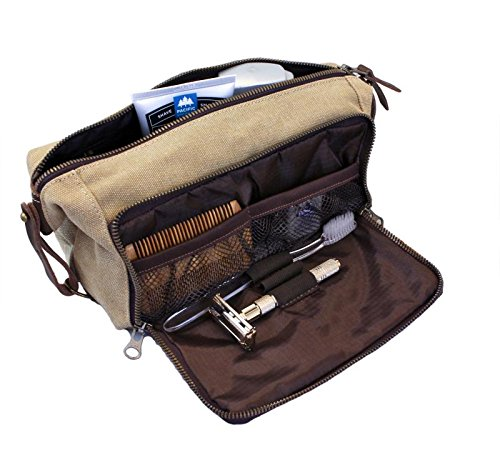 (DOPP Kit Toiletry Travel Bag for Men and Women YKK Zipper Canvas & Leather. (Large, Khaki))