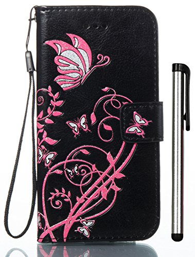 For iPhone 8 Case, iPhone 7 Case 4.7 Inch Black Leather Wallet Magnet Flip Cover With Built-in Credit Card Slot Fit Apple - Embossed Color Print Butterfly Flower Daffodils (Not for Plus 5.5inch) ()