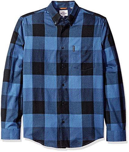 ben-sherman-mens-long-sleeve-textured-oversized-gingham-button-down-shirt-washed-blue-medium