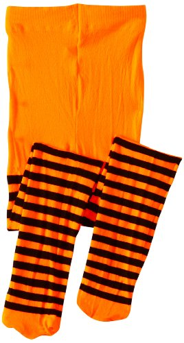 Jefferies Socks Little Girls'  Stripe Tights, Orange/Black, 4-6