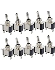 Justech 10 PCS 12V 20A LED Light Rocker Toggle Switch ON/OFF Toggle SPST Switch wth Blue LED Lamp for Car Truck Boat ATV