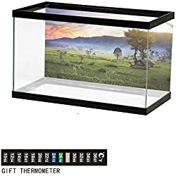 "bybyhome Fish Tank Backdrop Balinese,Rice Fields Tropics Land,Aquarium Background,30"" L X 12"" H(76x30cm) Thermometer Sticker"
