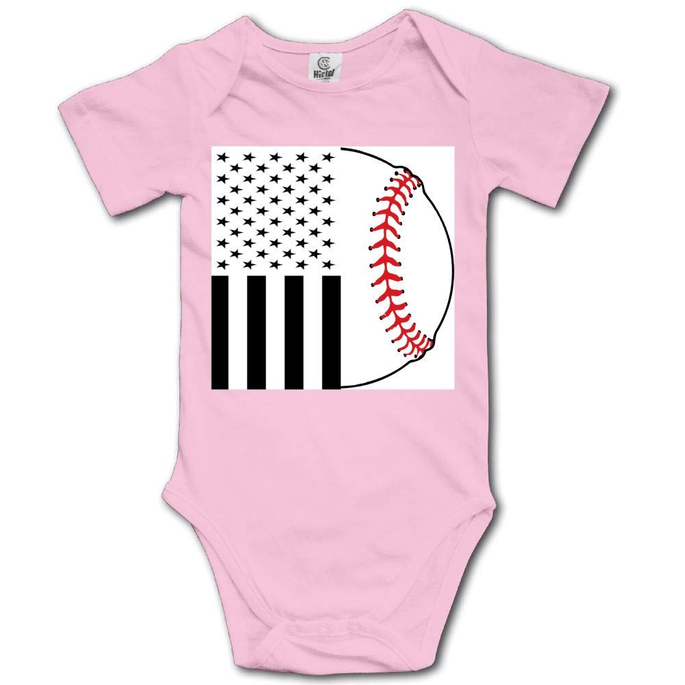 TO-JP American Flag and Baseball Baby Short-Sleeve Onesies Bodysuit Baby Outfits