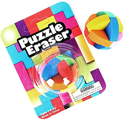 Pack of 12 Assorted Round Colored Rubik/'s Cube Educational Tool Kicko Puzzle Ball Eraser Party Stuffers Novelty Toys Mind Game Perfect for School Supplies Jigsaw