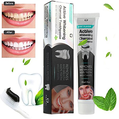 Activated Charcoal Teeth Whitening Toothpaste -SMYTShop Best Natural Black Tooth Paste Kit - Mint Flavor- Herbal Decay Treatment - 105g
