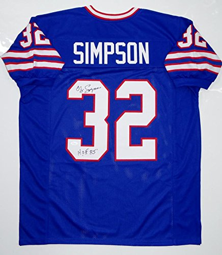O. J. Simpson Autographed Blue Pro Style Jersey W/ HOF- JSA Witnessed ()