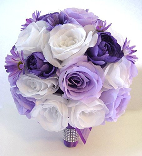 "Wedding flowers silk Bridal bouquet 17 piece Package LAVENDER Light PURPLE DAISY Lilac Artificial bouquets decorations ""RosesandDreams"""