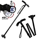 Travel Adjustable Folding Canes and Walking Sticks for Men and Women with Led Light and Cushion Handle for Arthritis Seniors Disabled and Elderly Best Mobility Aids Cane