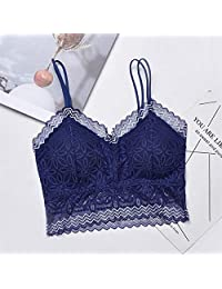 2 Pieces Woman Sexy 2019 Female Sexy Bra Tops Casual Lace Embroidered Tube Top (Color : Blue, Size : One Size)