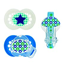 MAM Silicone Trends Pacifier with Clip, Boy, 6 Plus Months, 3-Count, (For Boy)